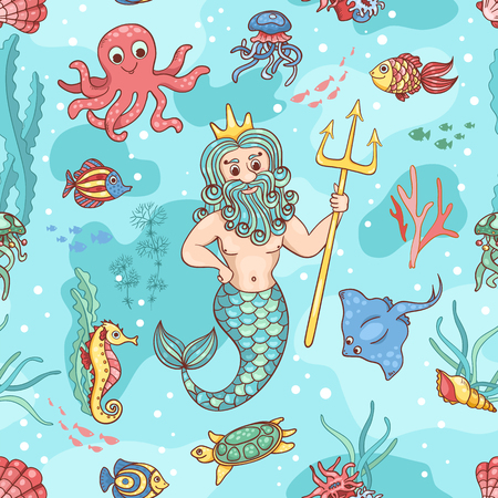 classical mythology character: Seamless pattern with Neptune. Vector children background. Stock Photo