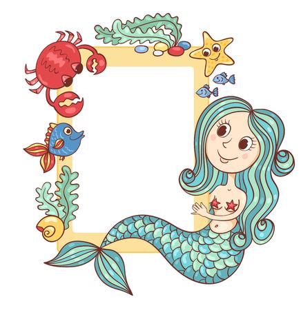 animals frame: Sea yellow frame with the mermaid and marine animals. Vector cartoon illustration. Stock Photo