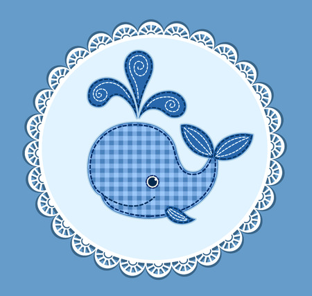 Cute little cartoon whale. Card for baby shower. Vector patchwork illustration. Stock Photo
