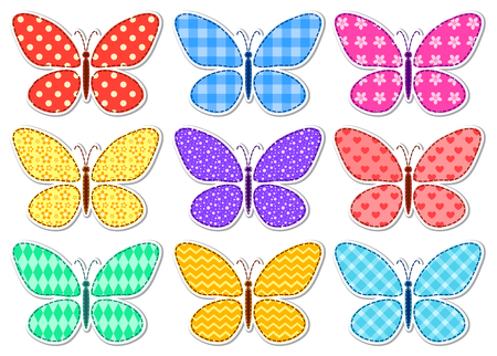 isolated flower: Set of cute stickers with a patchwork butterflies for children. Vector illustration. Isolated on white.