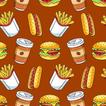 restaurant food: Seamless pattern with fast food. Vector sketch background. Stock Photo