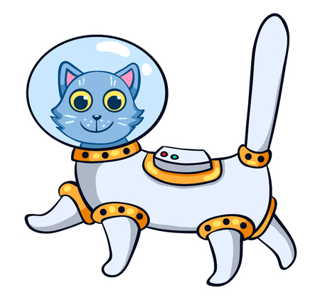 cat suit: The cat in the astronauts space suit. Vector cartoon illustration. Isolated on white.
