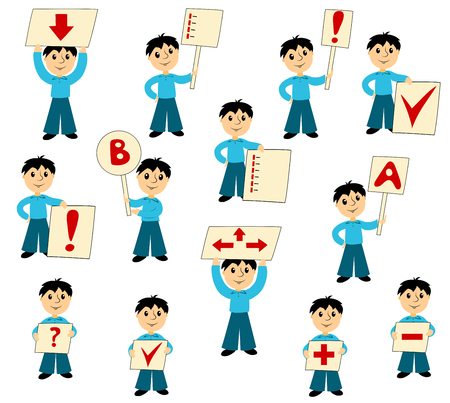 Computer instruction: The boy with signs. Set of clip art for business. Isolated on white. Vector.
