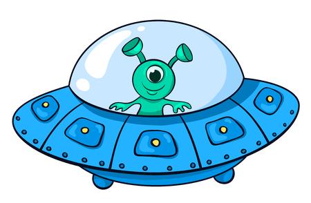 De vreemdeling in het ruimteschip. Vector kinderen illustratie. Geïsoleerd op wit.