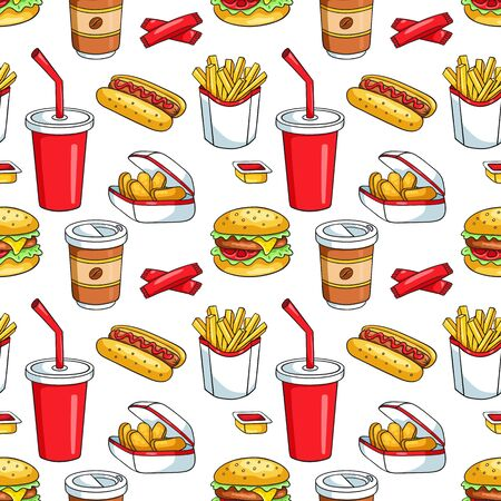 food: Seamless pattern with fast food. Vector sketch background. On the white. Stock Photo