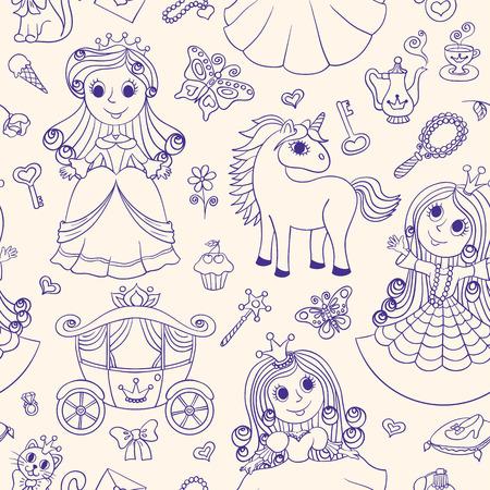 Patrón Sin Costuras Con Princesas. Garabatear De Dibujos Animados De ...