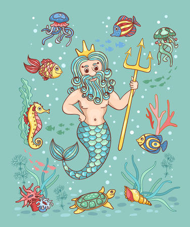 classical mythology character: Card with Neptune. Children vector cartoon illustration.