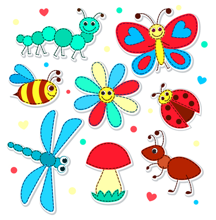 Set of cute stickers with a patchwork insects for children. Vector illustration. Isolated on white. Illustration