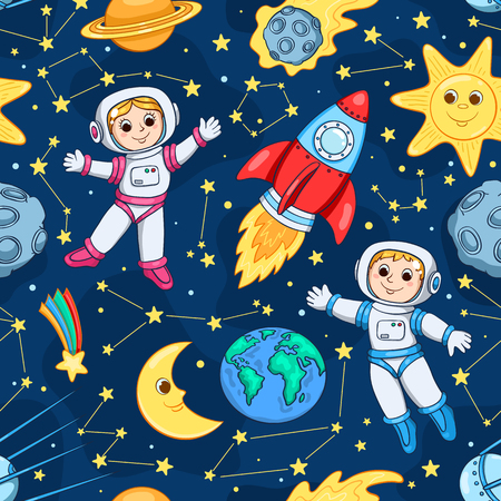 Seamless pattern with cute little astronaut. Cartoon children background.