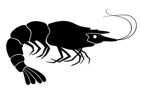 animal silhouette: Shrimp silhouette. Black on the white. Vector illustration.