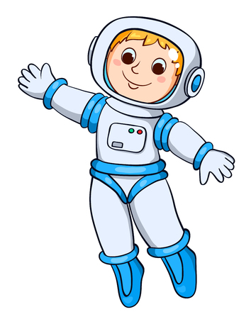 The boy in the astronauts space suit. Vector cartoon illustration. Isolated on white.
