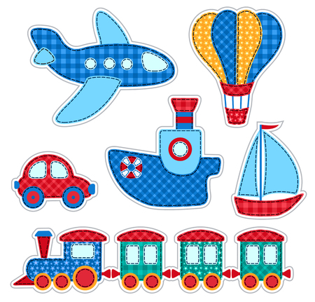 navigable: Set of stickers with patchwork transport. Vector illustration for children. Isolated on white.