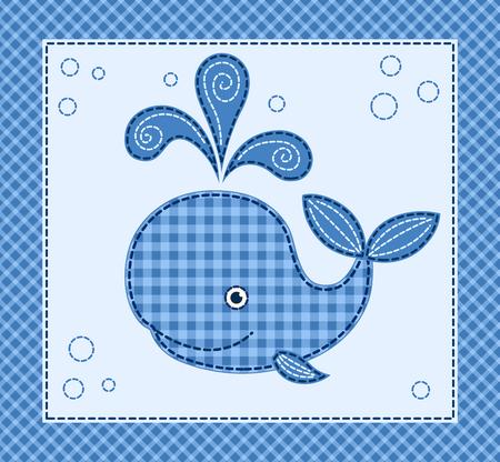 Pequeña ballena de la historieta linda. Ilustración del remiendo del vector.