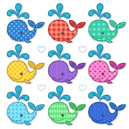 Conjunto de nueve ballenas de colores felices. Vector ilustración de dibujos animados. Aislado en blanco.