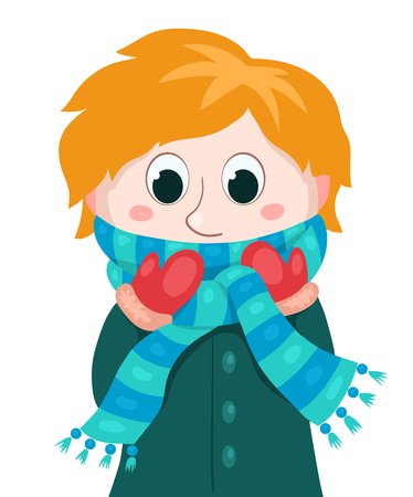 children only: Little boy in winter clothes. Vector cartoon illustration. Isolated on white.