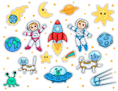 Set of stickers with space objects isolated on white. Cartoon vector illustration for children. Illustration