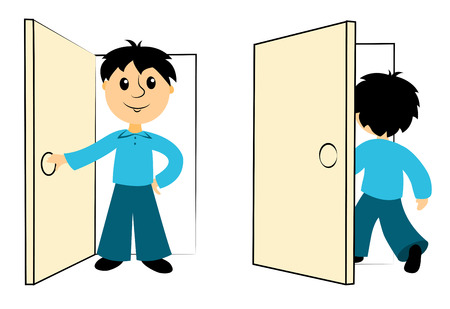 Il ragazzo entra in una porta. Clip d'arte per l'inclinazione. Isolato su bianco. Vettore.