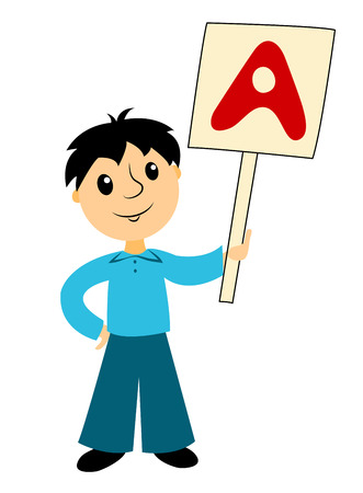 teenagers only: The boy with sign. Clip art for buseness. Isolated on white. Vector.