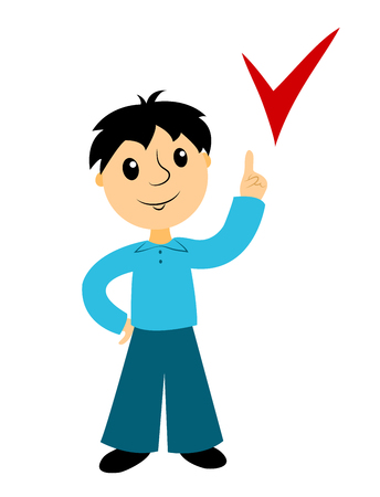 Computer instruction: The boy points to a sign. Clip art for buseness. Isolated on white. Vector.