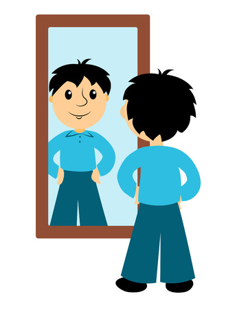 The boy looks in a mirror. Clip art for buseness. Isolated on white. Vector.