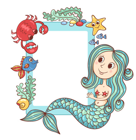 Sea blue frame with the mermaid and marine animals. Vector cartoon illustration. Illustration