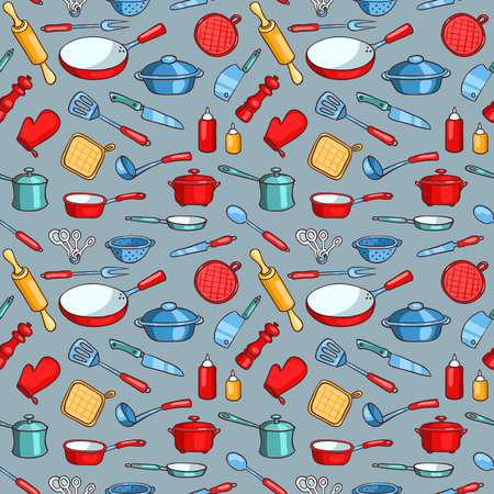 Grey seamless pattern cartoon kitchen ware
