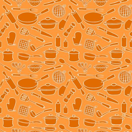Seamless pattern cartoon kitchen ware. Vector background. Illustration