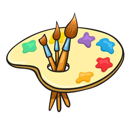 Cartoon art palette and brushes Illustration