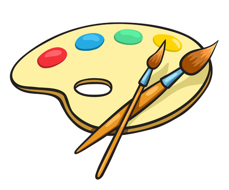 Cartoon art palette and two brushes