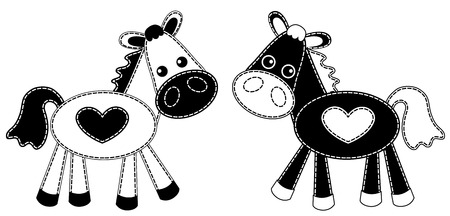 White and black patchwork horses. Vector illustration. Isolated on white.