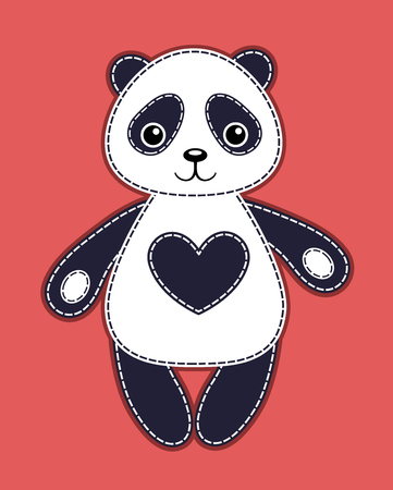 Happy panda. Vector cartoon illustration. On the red buckground.