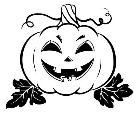 Silhouette of halloween pumpkin. Vector cartoon illustration. Isolated on white.