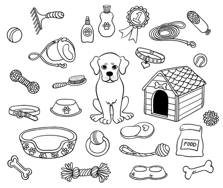Cute dog and things. Vector set black countour.