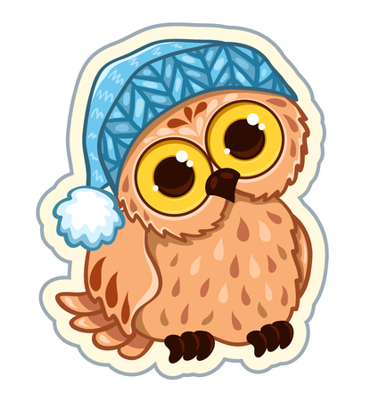 Owlet in the hat. Sticker vector illustration. Isolated on white.