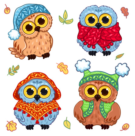 Owlets in knitted clothes. Set of vector illustration. Isolated on white.