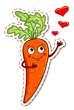 Cartoon carrot in love. Vector illustration isolated on white.