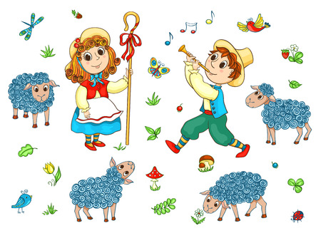 Children and sheeps. Vector cartoon set. Isolated on white. Иллюстрация