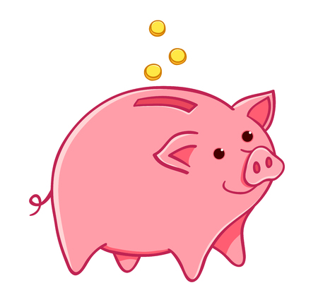 Cartoon pig moneybox. Vector cute illustration. Isolated on white. Illustration