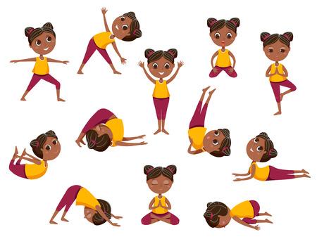 Yoga kinderen vector iconen set. Leuk meisje in verschillende yoga houdingen op witte achtergrond. Cartoon afbeelding. Vector Illustratie