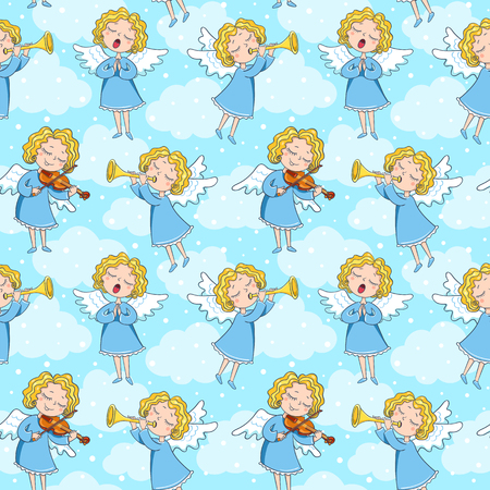 Seamless pattern of band of angels on the blue background