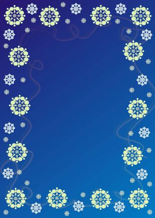 precipitation: new years blue frame with white snowflake on turn blue background