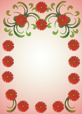 remarkable rose frame with beautiful floral pattern Stock Photo