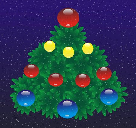 varicoloured: New years fir tree is expressed On photo with varicoloured toy