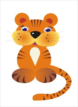 zoological: small fairy-tale tigress is expressed on illustrations from cartoon - a symbol of the new year