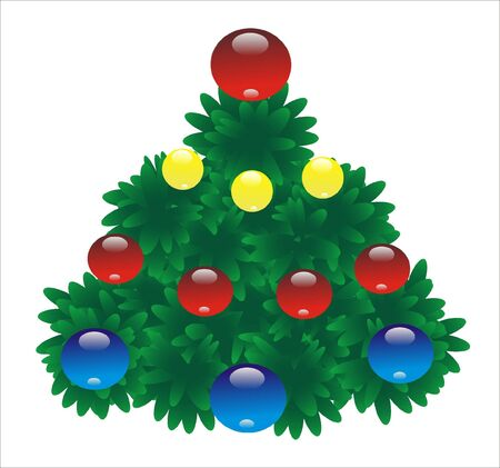 revelry: New years fir tree is expressed on photo with varicoloured toy