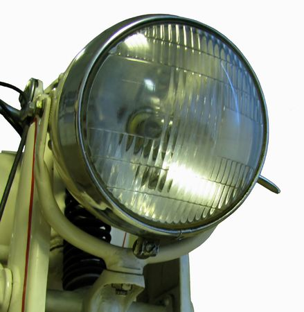 lamp antique motorcycle depicted on a white background photo