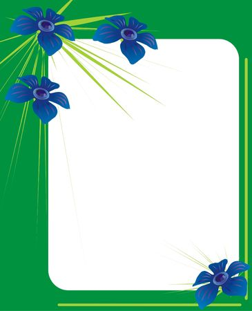 adornment: green photo frame adorned with blue flowers