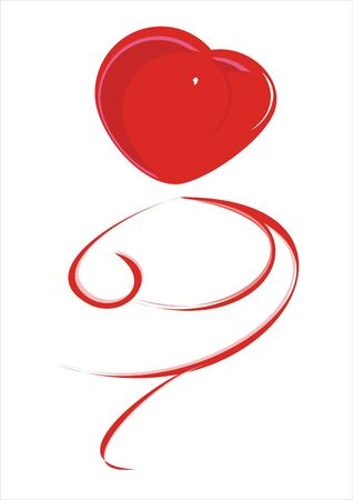 red heart with a train flourishes on a white background photo