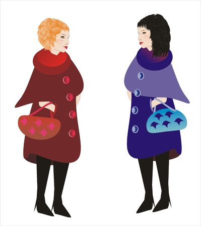 Two women talking after shopping photo
