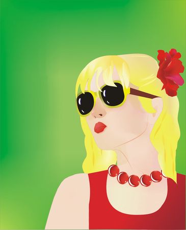 Blond girl with red flower on her head on a green background